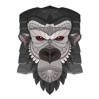 Zentangle tête de gorille stylisée. illustration vectorielle