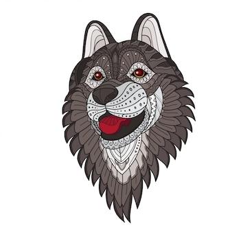 Zentangle tête de loup stylisée. illustration vectorielle