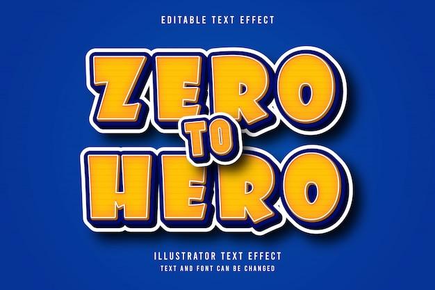 Zéro au héros, effet de texte modifiable 3d, style d'ombre moderne intérieur orange dégradé jaune