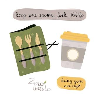 Zéro déchet éléments cultery et tasse de café. articles écologiques réutilisables et recyclables. sans plastique. mettre au vert.
