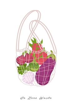 Zéro déchet pour ne pas utiliser une illustration de sac en plastique.