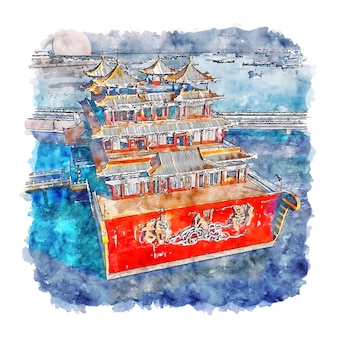 Zhuhai guangdong chine aquarelle croquis illustration dessinée à la main