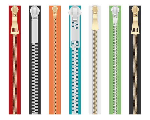 Zipper set illustration sur fond blanc