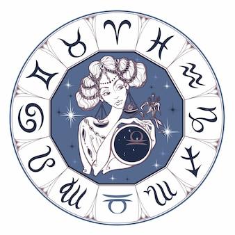 Zodiac signent la balance comme une belle fille