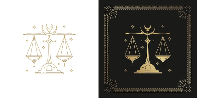 Zodiaque balance horoscope signe ligne art silhouette design illustration