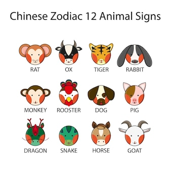 Zodiaque chinois 12 signes animaux
