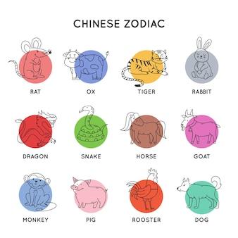 Zodiaque chinois contour animaux nouvel an oriental