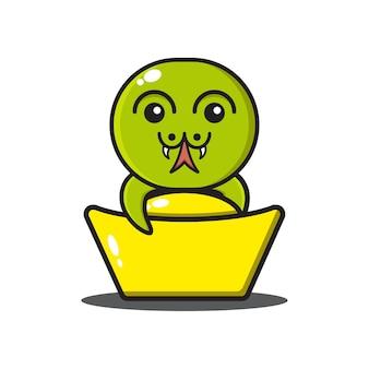 Zodiaque chinois de serpent mignon étreignant l'or