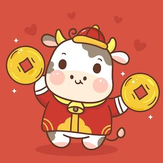 Zodiaque de dessin animé de boeuf tenant le caractère animal de pièce d'or. joyeux nouvel an chinois 2021