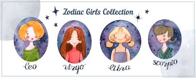Zodiaque filles horoscope signes éléments aquarelle isolés sertis de lettrage