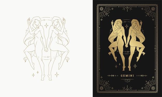 Zodiaque gémeaux fille caractère horoscope signe ligne art silhouette design illustration