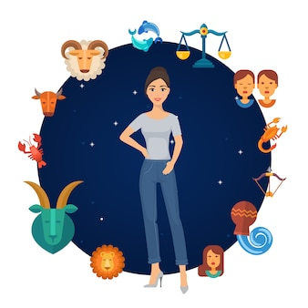 Le zodiaque signe un cercle astrologique avec une fille au centre. rond zodiacal. calendrier astrologique astrologique.