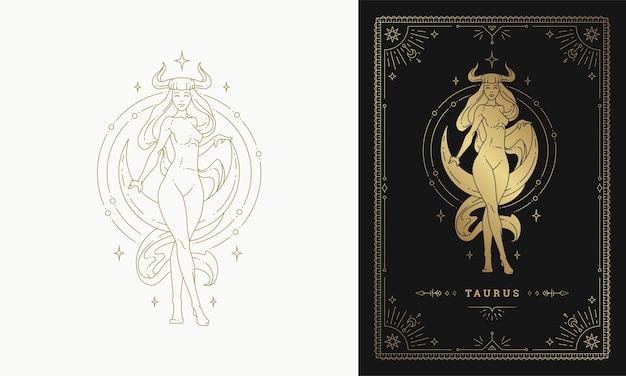 Zodiaque taureau fille caractère horoscope signe ligne art silhouette design illustration