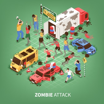 Zombie apocalypse isométrique