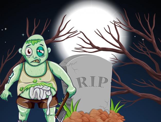 Un zombie au cimetière