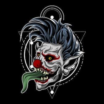 Zombie clown avec géométrie sacrée