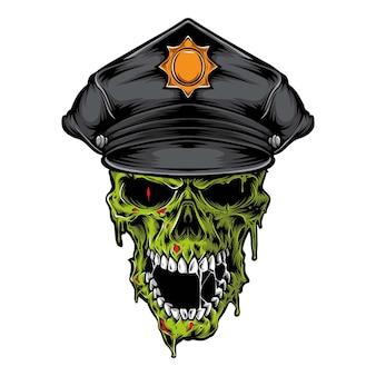 Zombie crâne portant un chapeau de police