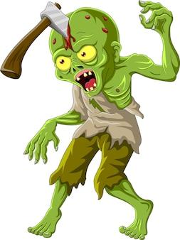 Zombie de dessin animé avec une hache dans la tête