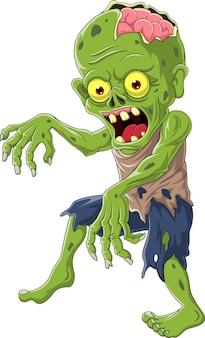 Zombie de dessin animé isolé sur fond blanc