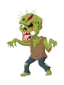 Zombie effrayant de dessin animé isolé sur fond blanc