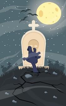Zombie effrayant hors de la pierre tombale