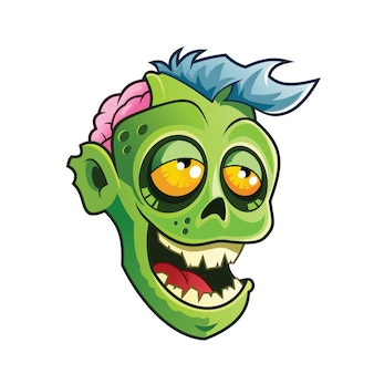 Zombie head cartoon illustration