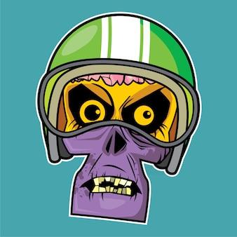 Zombie head - motor rider