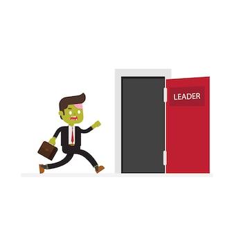 Zombie homme d'affaires et porte de succès