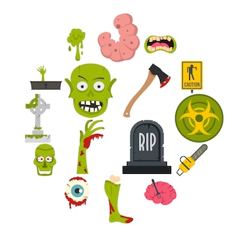 Zombie icons set in flat style