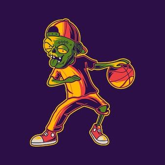 Zombie jouant au basket