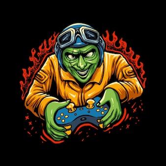 Zombie jouant le vecteur d'illustration de jeu