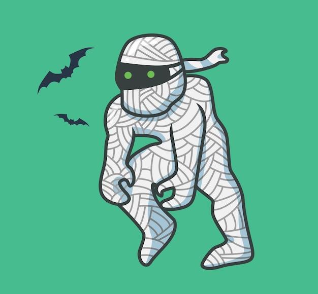 Zombie mignon momie marche cartoon concept d'événement halloween illustration isolée style plat