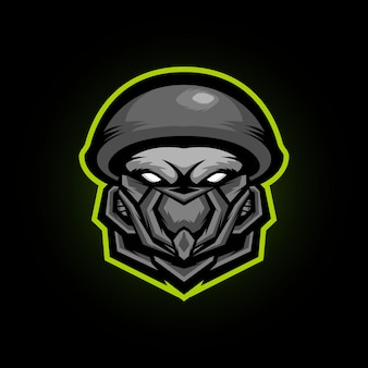 Zombie soldat head e sports mascot logo