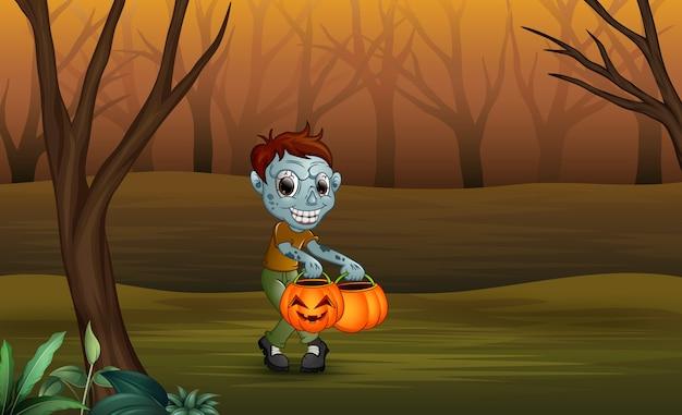 Zombies du dessin animé dans la forêt morte