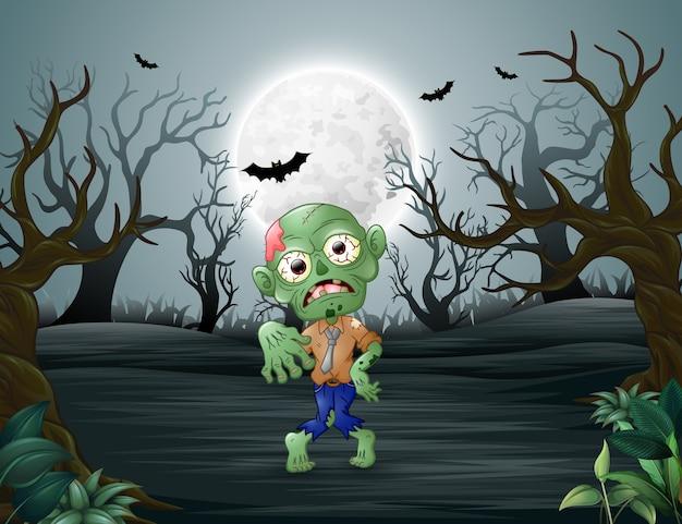 Zombies marchant terrorisant dans la forêt morte