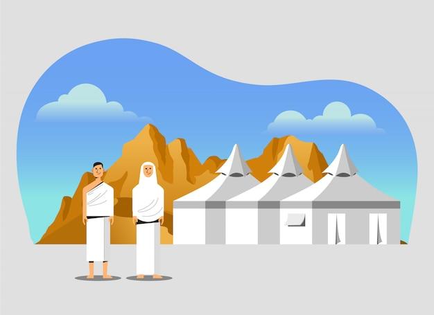 Zone de campement sous tente blanche du pèlerinage du pèlerinage