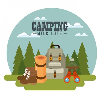 Zone de camping avec équipement
