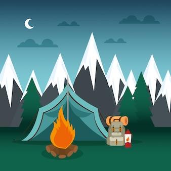 Zone de camping avec tente et feu de camp
