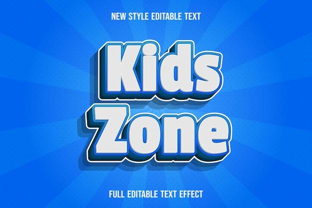Zone enfants effet texte avec dégradé de couleur blanc et bleu