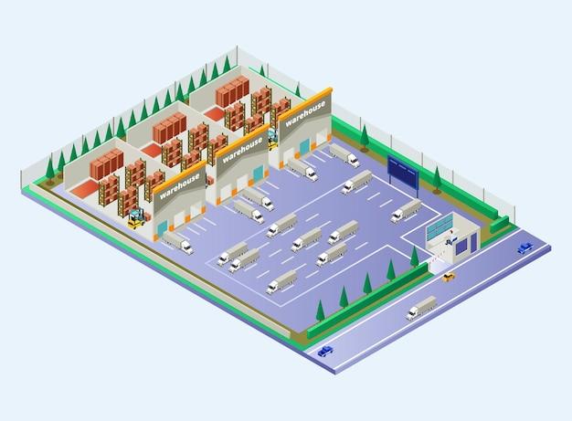 Zone d'entrepôt montrant le flux de distribution avec des camions de chargement