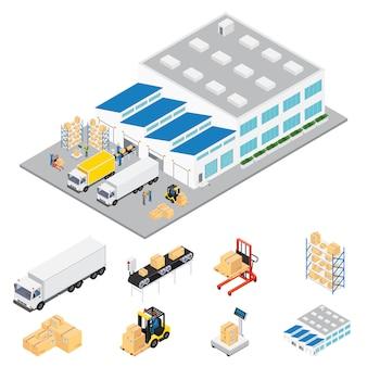Zone industrielle d & # 39; entrepôt isométrique