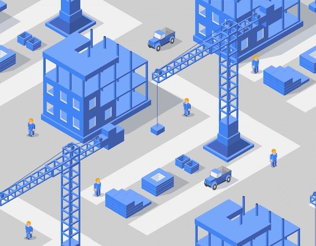 Zone industrielle isométrique
