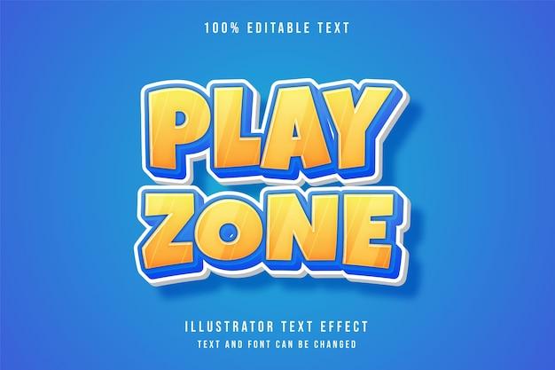 Zone de jeu, effet de texte modifiable 3d dégradé jaune bleu style comique mignon