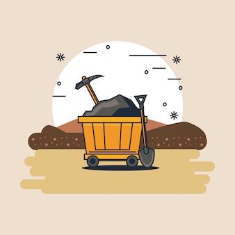 Zone minière et outils