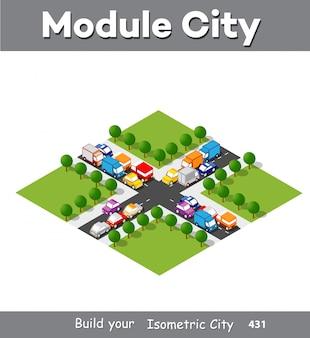 Zone de module isométrique au centre-ville