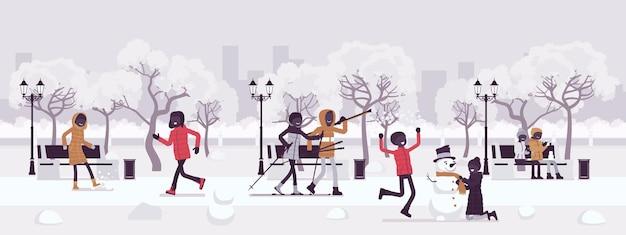 Zone de parc de saison d'hiver