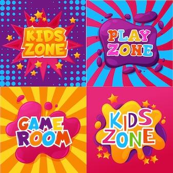 Zone pour enfants, salle de jeux et de jeux, affiches ou bannières de jeux pour enfants