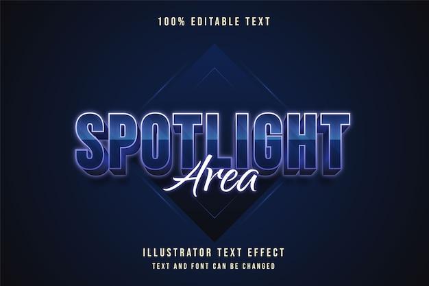 Zone de projecteur, effet de texte modifiable 3d dégradé bleu style de texte néon violet