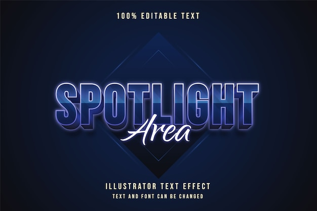 Zone de projecteur, effet de texte modifiable 3d style de texte néon dégradé bleu
