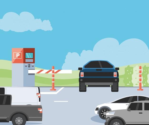 Zone de stationnement avec distributeur de billets et scène de barricade